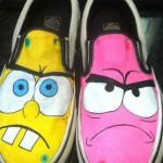 Tênis Vans customizados com personagens de desenhos animados