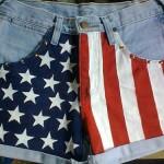 Customização de shorts com a bandeira dos Estados Unidos