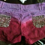 Customização de short com dip dye e spikes