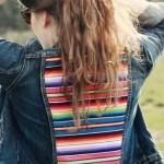 Jaqueta jeans com tecido listrado