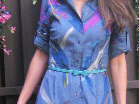 vestido jeans colorido