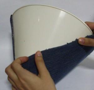 customização de abajur com jeans