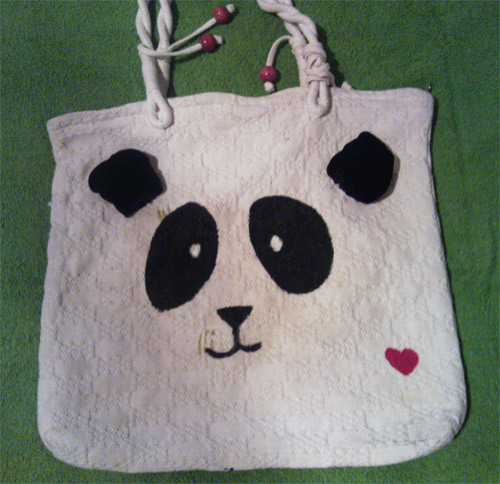 customização de ecobag com urso panda
