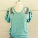 Customização de camiseta com detalhes nos ombros