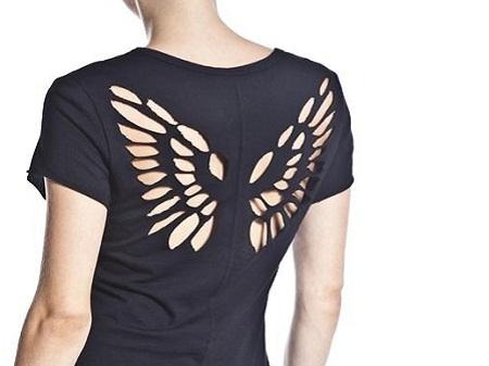Customização de camiseta: camiseta com asas recortadas nas costas
