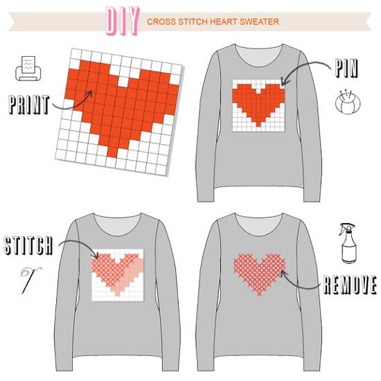 Customizar blusa com coração em ponto cruz