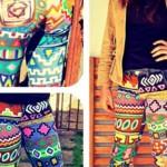 Calça customizada com estampa étnica