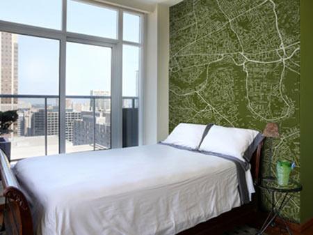 decoração com papel de parede - mapa customizado