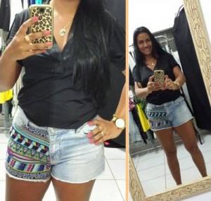 como customizar short jeans com tecido de estampa étnica