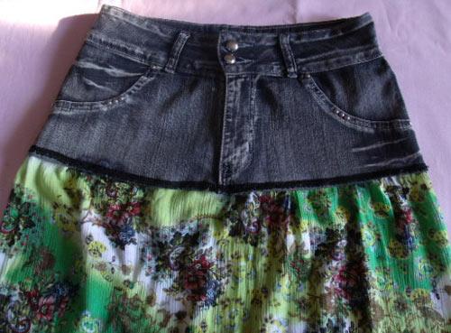 DIY - como fazer saia usando uma calça jeans e vestido