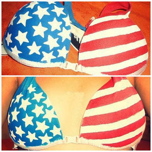 DIY - customização de sutiã com bandeira dos Estados Unidos