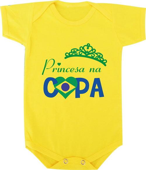 Body engraçado para bebê com tema Copa do Mundo Brasil