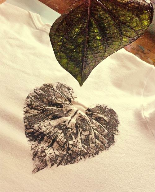 DIY - customizando camiseta com estampa de folha