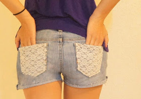 DIY customização de short jeans com renda
