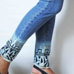 Customizando barra da calça jeans