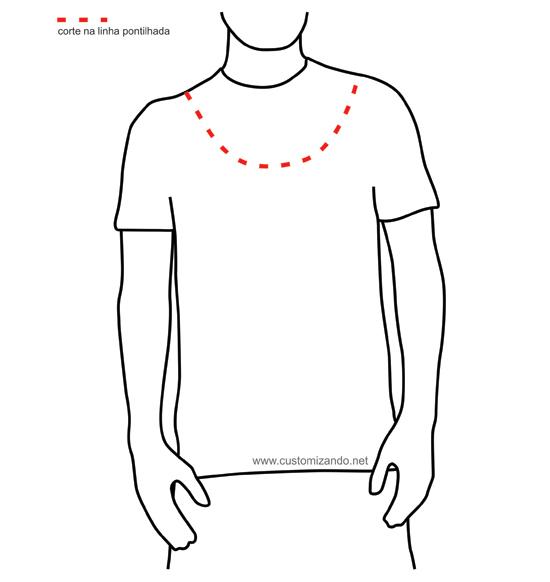 Como customizar camiseta masculina - Customização camiseta masculina