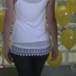 Karina Milanesi customiza camiseta branca para o Réveillon no Programa Mais Você