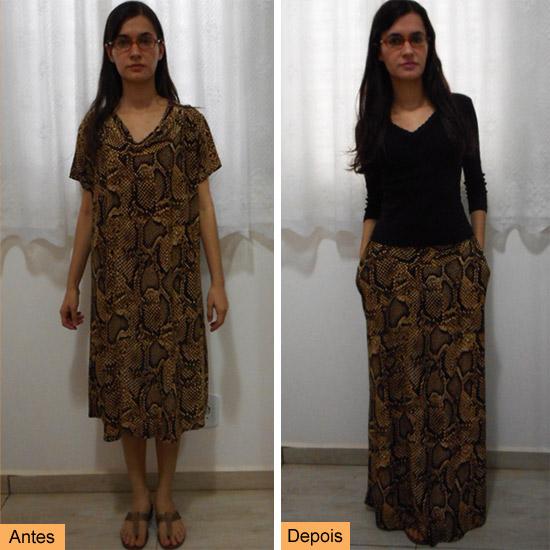 Como transformar vestido em saia longa