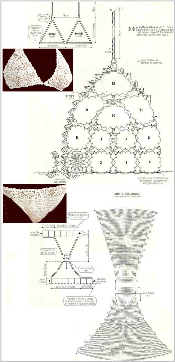 Gráficos e receitas de biquinis de crochê