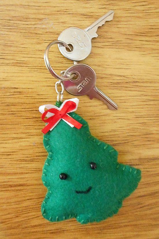 Artesanato Tecido Franzido ~ Como fazer chaveiros enfeites natalinos de feltro CUSTOMIZANDO NET Blog de customizaç u00e3o de