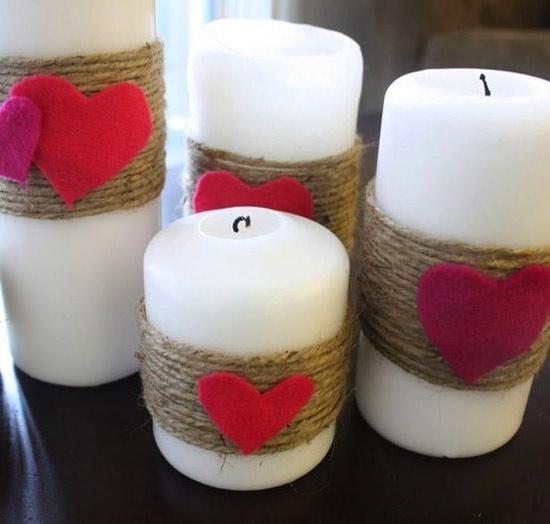 Decoração: ideias para o Dia dos Namorados - velas decoradas com sisal e corações vermelhos