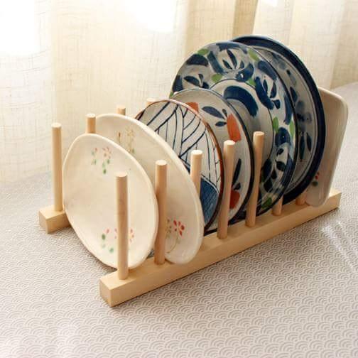 Escorredor de pratos de madeira