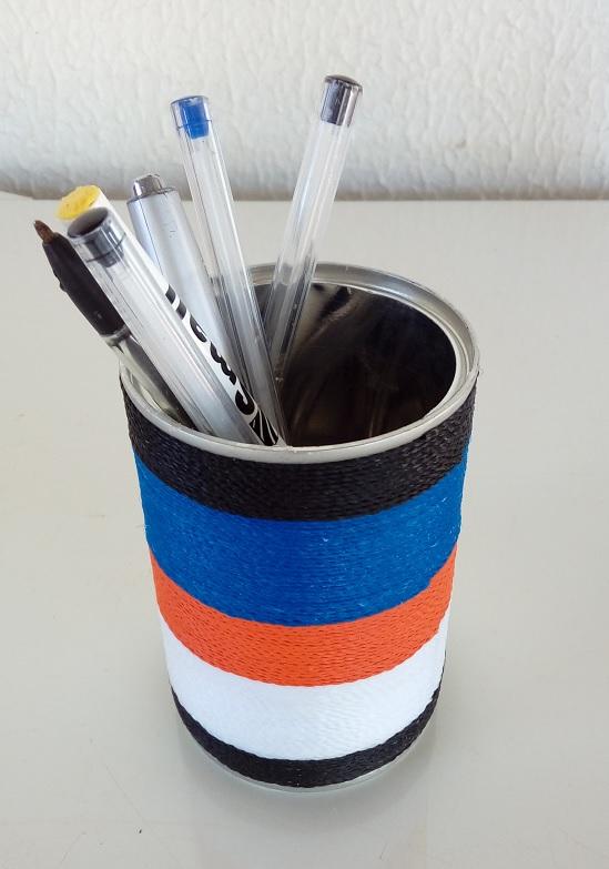 Como customizar lata com barbante