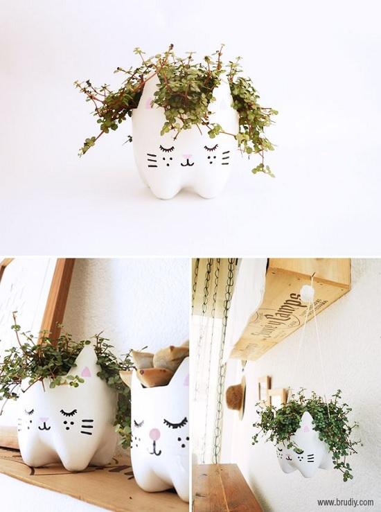 Como fazer vasinho de flor de gatinho com garrafa pet