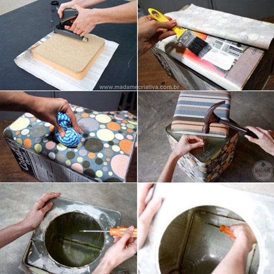 Como fazer pufe com lata de tinta