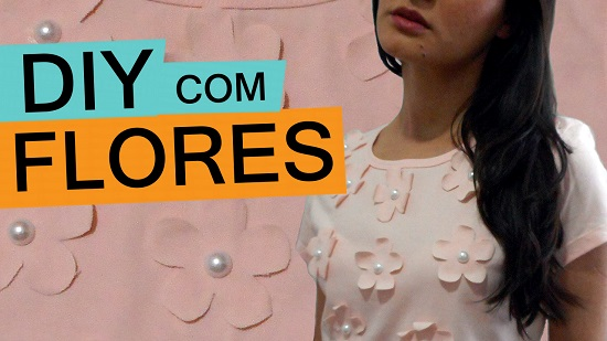 como customizar camiseta com flores