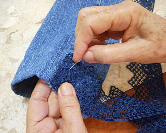 Como customizar jaqueta jeans com renda