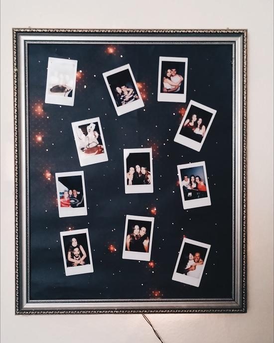 Como fazer painel de fotos com moldura usada