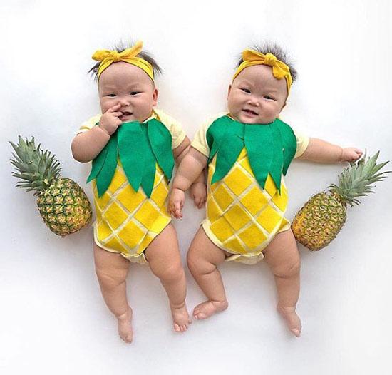 Inspiração: abacaxi - bebês com fantasia