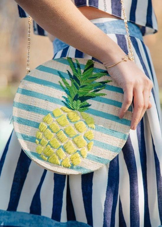 Inspiração: abacaxi - bolsa redonda