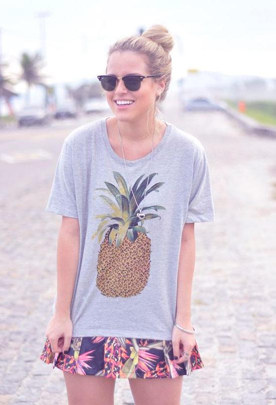 Inspiração: abacaxi - look com camiseta