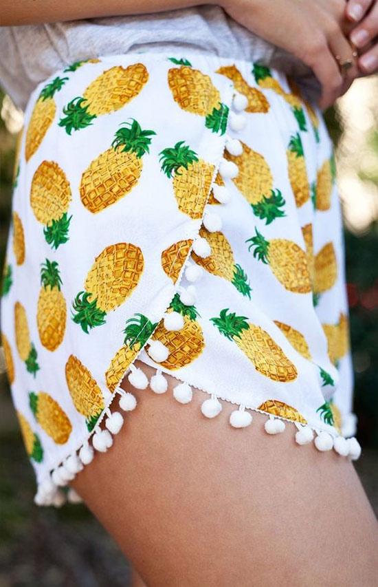 Inspiração: abacaxi - short feminino