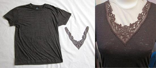 como customizar camiseta com renda