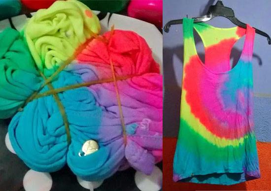 Como customizar camiseta com tie dye arco-íris