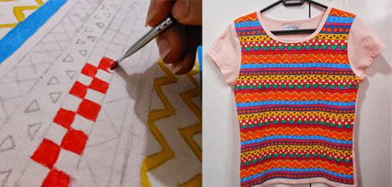 como customizar camiseta com estampa étnica