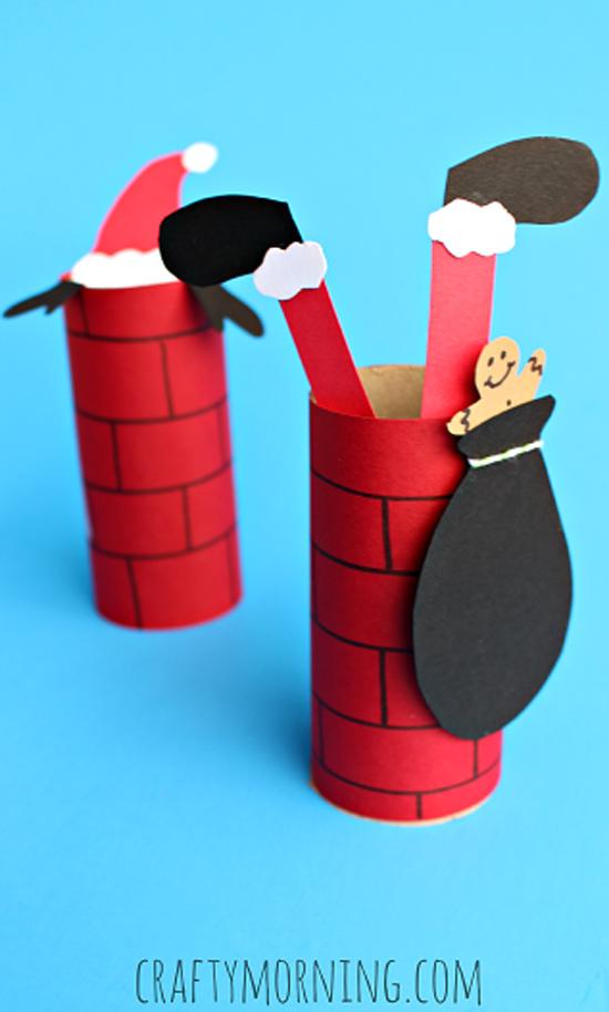 Atividades de natal para educação infantil - chaminé com papai noel de rolo de papel higiênico