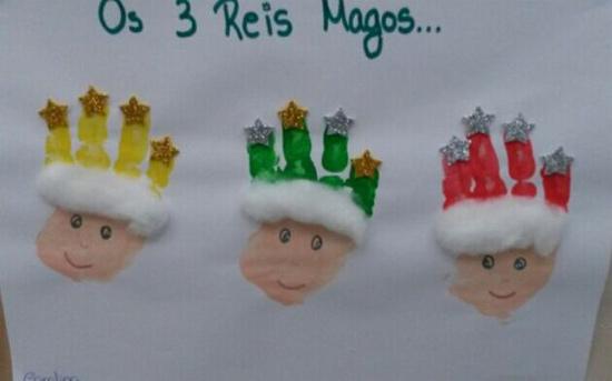 Atividades de natal para educação infantil - reis magos com pintura de mãos