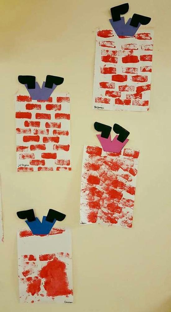 Atividades de natal para educação infantil - chaminé papai noel com papel