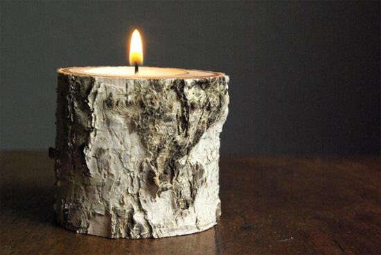 como fazer castiçal com tronco de árvore