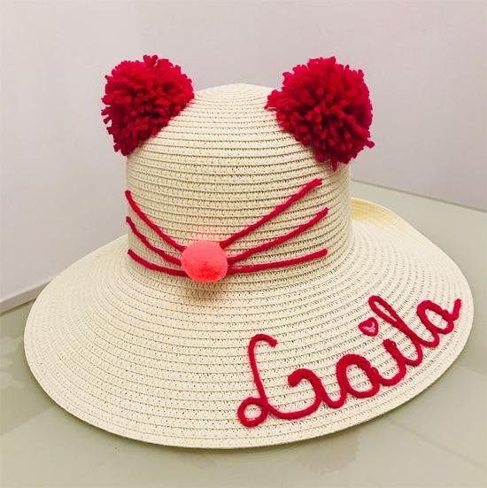 Chapéu de palha customizado para meninas
