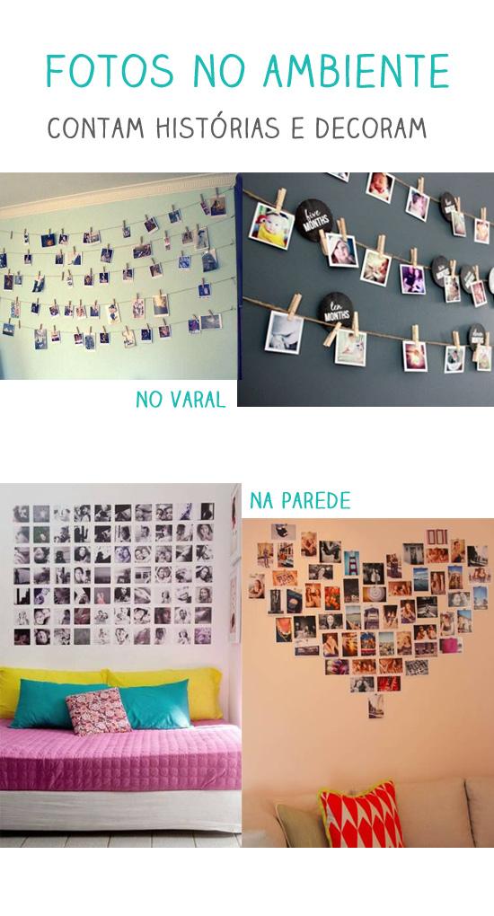 fotos expostas na decoração