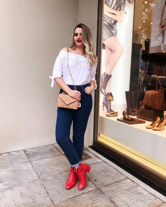 moda - como usar bota vermelha