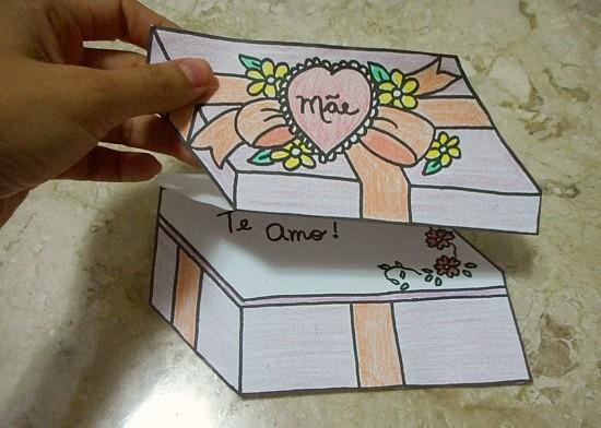 cartão caixa de presente lembrancinha dia das mães