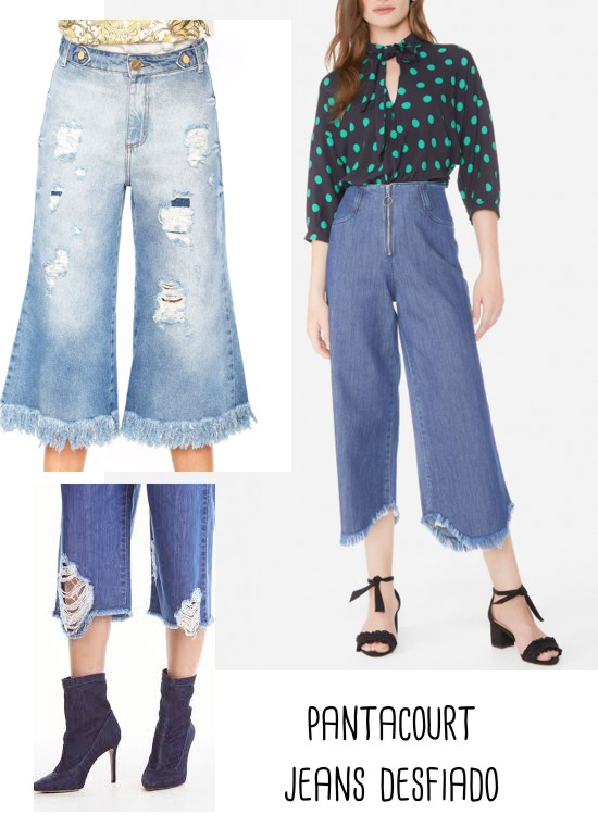 calça pantacourt com jeans desfiado