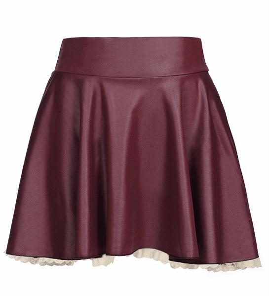 Mini saia rodada de couro sintético