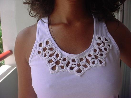 Ideia para customização de camiseta com crochê